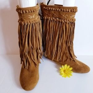 Falchi Wedge Fringe Avaa Moccasin Boots Brown 7.5